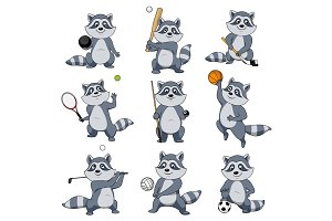 Cartoon raccoon play sports vector mascot icons