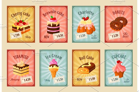 Vector Price Cards Set For Bakery Dessets