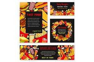 Fast food vector templates restaurant banner poster