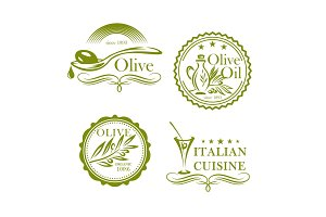 Olives, olive oil vector isolated label icons set