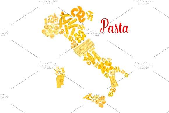 Pasta Or Italian Macaroni Vector Italy Map