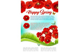 Vector poster for happy spring holiday greetings