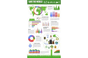 Save the world infographic for ecology design