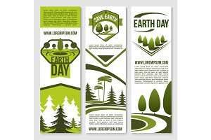 Vector banners for earth day ecology concept