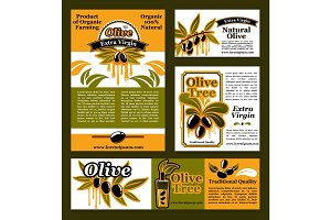 Vector banners and poster for olive oil poducts