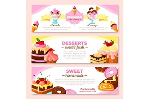 Vector banners set for homemade bakery desserts