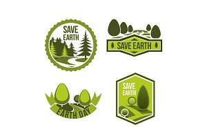 Vector green nature icons set for earth day
