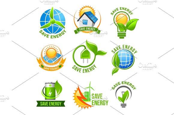 Eco Green Energy Icon Set For Ecology Design