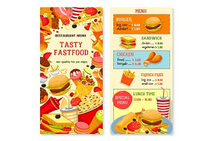 Fast food vector templates for restaurant menu
