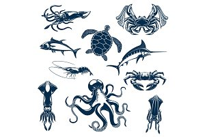 Sea fish and ocean animals vector isolated icons