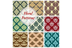 Vectror seamless floral Damask patterns set