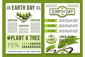 Green nature vector posters for Earth Day