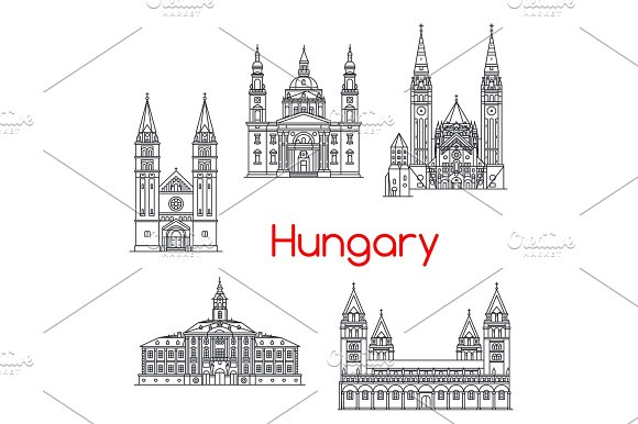 Hungary Famous Architecture Vector Landmark Icons
