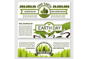 Vector banners for Earth Day nature conservation