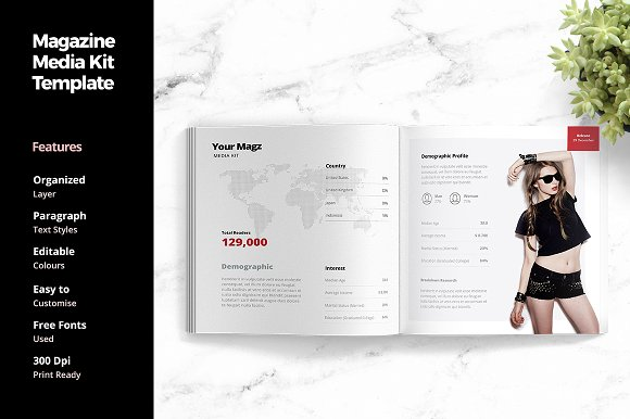 Magazine Media Kit Template Social Media Templates Creative Market
