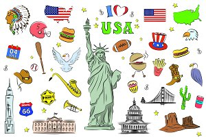 USA symbols and icons set