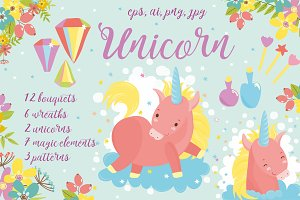 Magic Unicorns pattern and flowers