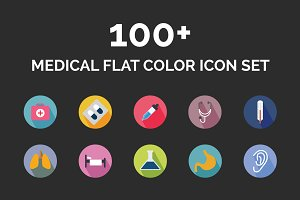100+ Medical Flat Color Icon Set