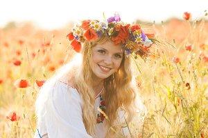 Girl in a poppy field