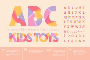 Colorful typefaces child typography