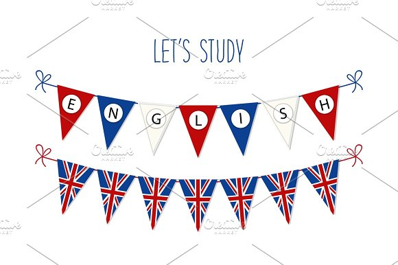 Cute Bunting Flags For English Language Day