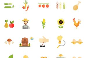 Flat Style Farm Organic Food Icons