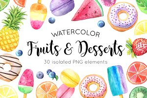 Watercolor Fruits&Desserts Set