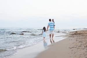 Walking on the empty beach