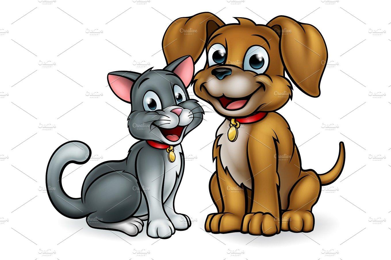 Cat and Dog Pets Cartoon Characters ~ Illustrations ...
