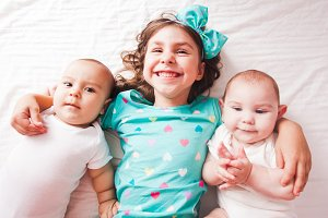 Sister with twins