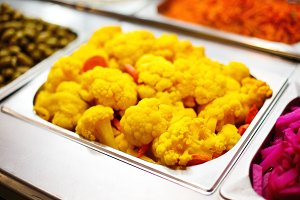 Cooked color yellow cauliflower