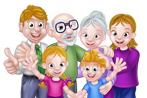 Cartoon Kids Parents and Grandparents