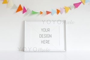 White Frame Landscape with Bunting