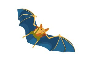 Yellow bat with blue wings hand drawn on white background