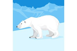Big polar bear at north pole cartoon style. Vector illustration