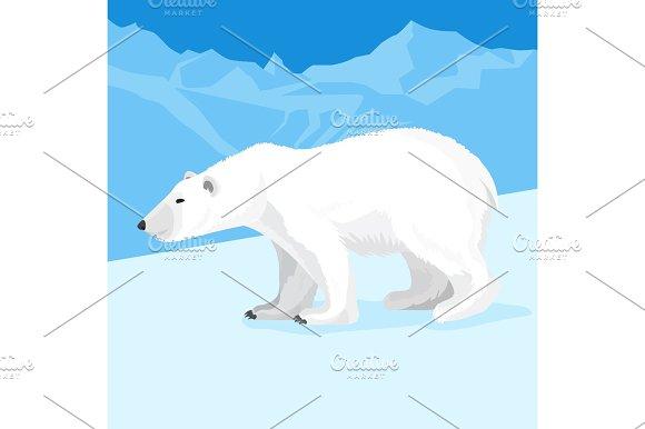 Big Polar Bear At North Pole Cartoon Style Vector Illustration