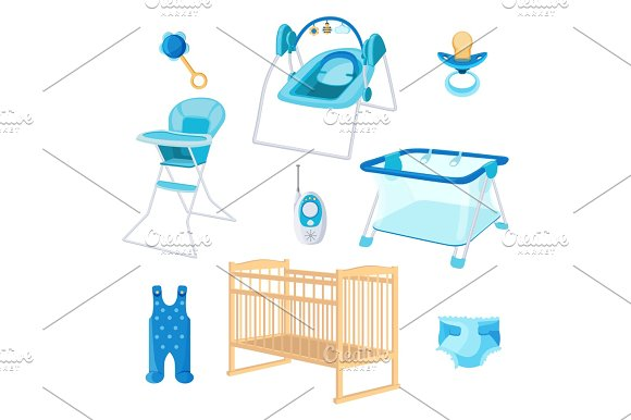 Bedroom Furniture For Newborn Boy On White Background