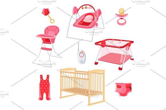 Bedroom Furniture For Newborn Girl On White Background