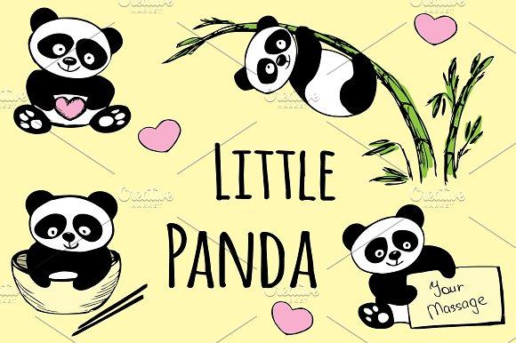 Set Hand Drawn Cute Pandas