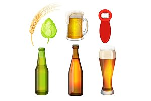 Barley grains, malt, bottle opener, flasks, tumblers with glass handle.