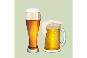 Two big glasses with frothy beer graphic icon on gray