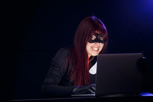 Girl spy in black mask