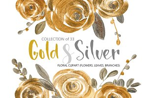 Gold & silver flowers and leaves