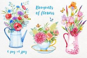 Bouquets of flowers watercolor