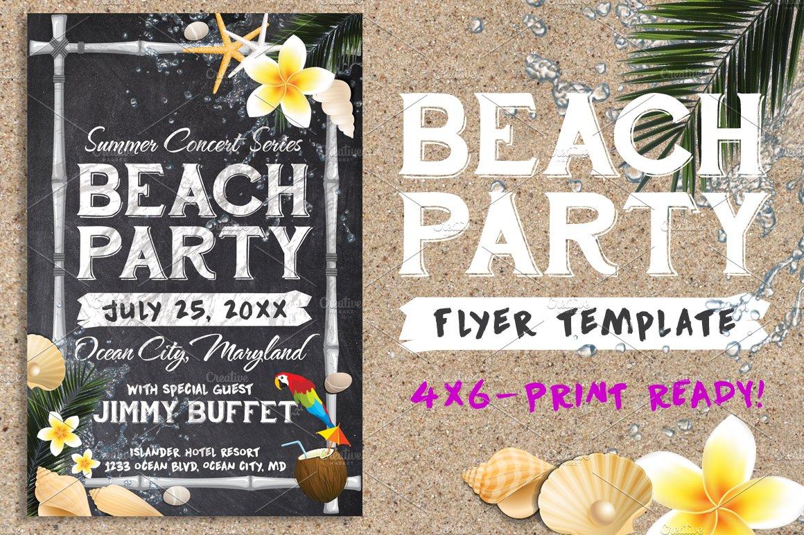 Chalk Summer Beach Party Flyer Flyer Templates Creative Market