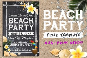 Chalk Summer Beach Party Flyer
