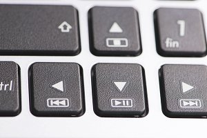 Buttons of a laptop keyboard. Computing.