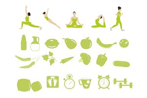 Set of healthily lifestyle icons