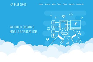 Blue Cluod PSD Template