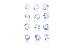 Set of twelve transparent ice cubes